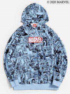 Marvel Spider-Man Comics Printed Drawstring Pullover Hoodie - Sea Blue 2xl
