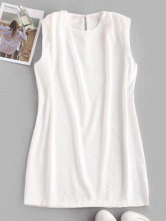 Sleeveless Padded Shoulder Straight Mini Dress - White S