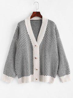 Button Up Stripes Oversized Cardigan - Warm White