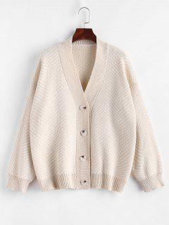 Button Up Stripes Oversized Cardigan - Light Coffee