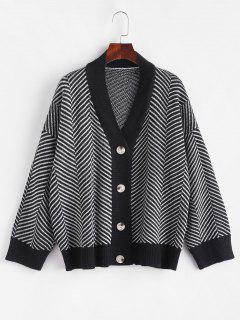 Button Up Stripes Oversized Cardigan - Graphite Black