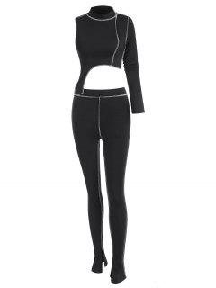 2PCS Topstitching Asymmetrical Top And Split Hem Leggings Set - Black M