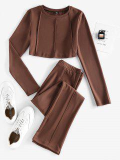 ZAFUL Exposed Seams Plain Straight Pants Set - Deep Coffee Xl