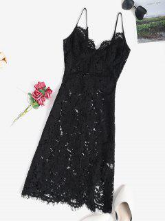 Lace Sheer Slit Sexy Cami Babydoll - Black M
