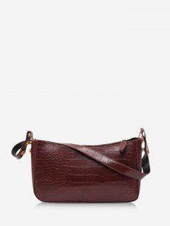 French Style Solid Shoulder Bag - Deep Brown