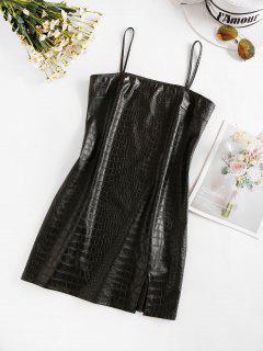 ZAFUL Front Slit Faux Leather Mini Dress - Night M