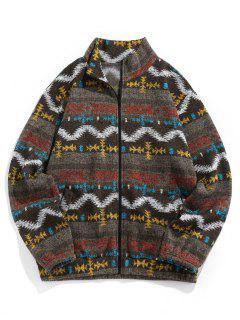 ZAFUL Tribal Jacquard Zip Up Fleece Jacket - Brown Bear M