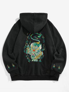 ZAFUL Flower Lion Flame Embroidered Fleece Hoodie - Black 2xl