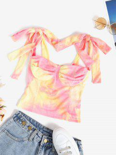 Tie Dye Shoulder Ties Bustier Crop Top - Multi L