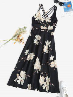 Floral Crisscross Open Back Midi Dress - Black M