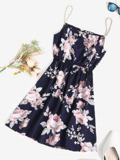 Seil Riemen Blumen A-Linie Sommerkleid - Tiefes Blau