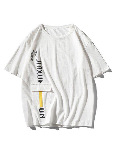 Maglietta Grafica a Lettere con Tasca con Patta - Bianca 2XL Mobile