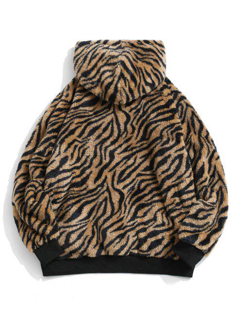 womens ZAFUL Tiger Skin Pattern Fluffy Hoodie - MULTI 2XL Mobile