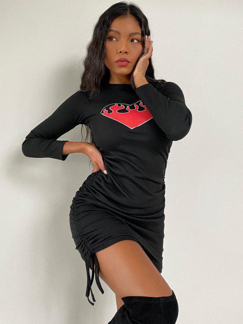 Vestido de Noche Acanalado con Forma de Corazón - Negro L Mobile