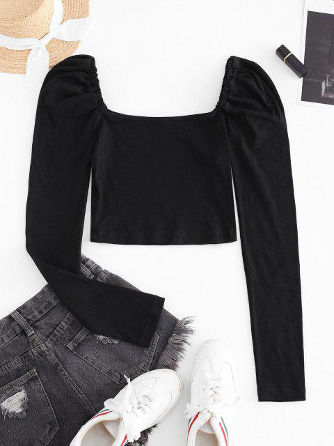 hot Ribbed Puff Sleeve Milkmaid Top - BLACK M Mobile