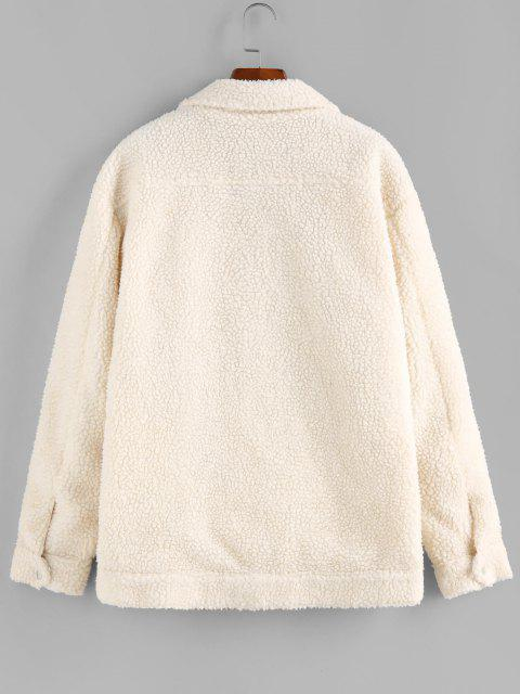 new ZAFUL Solid Pocket Patch Teddy Jacket - WHITE S Mobile