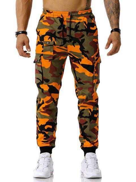 Jogger Pantalones de Estampado de Camuflaje de Cordón - Naranja L Mobile