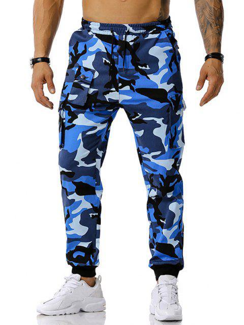 Camouflagedruck Jogger Cargo Hose - Blau XXXL Mobile