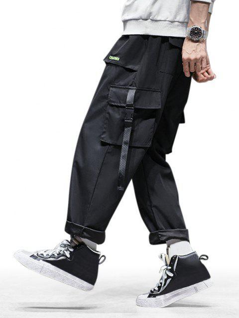 Pantalones de Carga con Cordones y Bordado de Letras de ToAlternado - Negro S Mobile