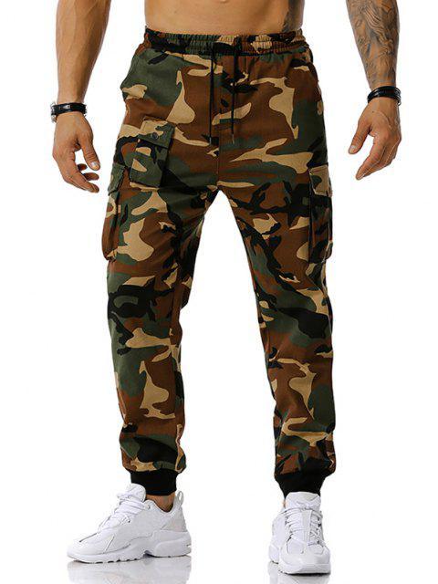 Jogger Pantalones de Estampado de Camuflaje de Cordón - Ejercito Verde S Mobile