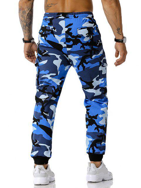 Jogger Pantalones de Estampado de Camuflaje de Cordón - Azul S Mobile