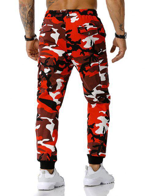 Jogger Pantalones de Estampado de Camuflaje de Cordón - Rojo S Mobile