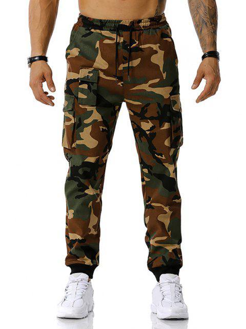 Jogger Pantalones de Estampado de Camuflaje de Cordón - Ejercito Verde XL Mobile