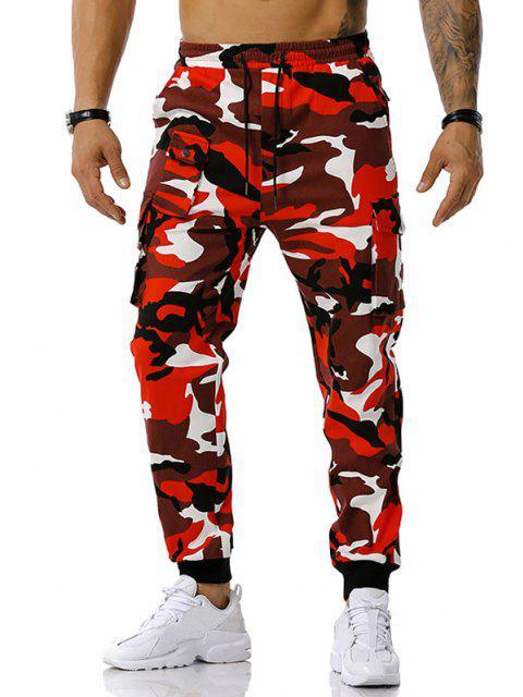 Camouflagedruck Jogger Cargo Hose - Rot XXXL Mobile