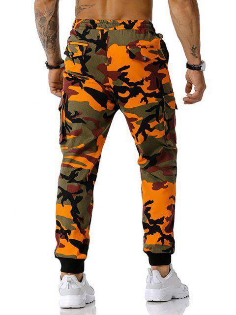 Camouflagedruck Jogger Cargo Hose - Orange XXXL Mobile