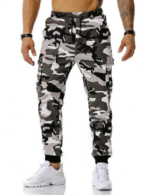 Jogger Pantalones de Estampado de Camuflaje de Cordón - Gris S Mobile