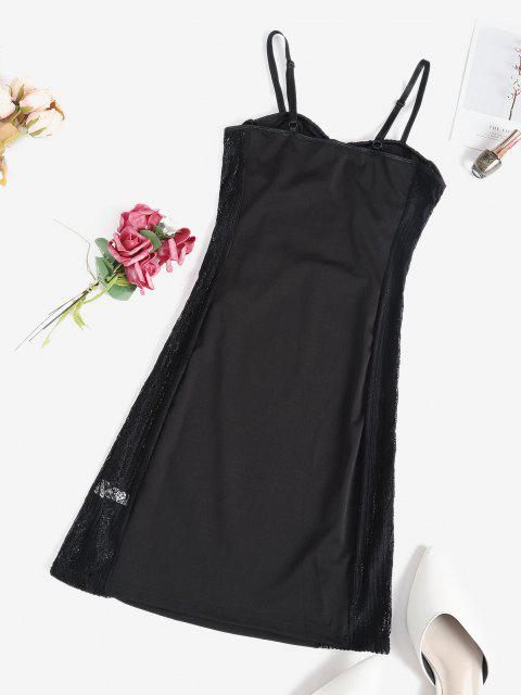 sale Lace Panel Sheer Sexy Lingerie Cupped Dress - BLACK L Mobile