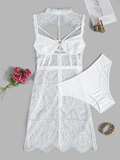 online Lace Eyelash See Thru Caged Sexy Lingerie Babydoll Set - WHITE L Mobile
