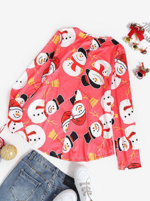 Weihnachten Schneemann Lattice Ärmel Einfaches T-Shirt - Rot S Mobile