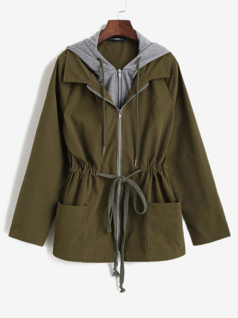 ladies ZAFUL Hooded Drawstring Cargo Combo Jacket - DEEP GREEN M Mobile