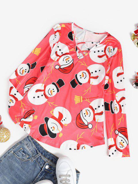 affordable Christmas Snowman Lattice Long Sleeve Tee - RED XL Mobile