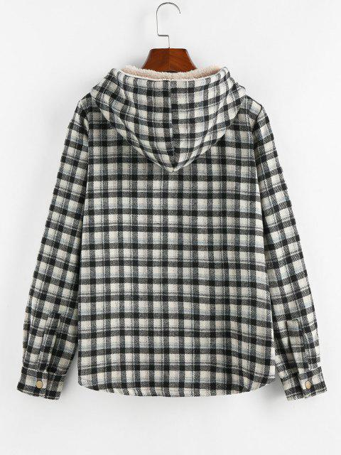 Plaid Hooded Pocket Fleece Lining Jacket - أسود XL Mobile