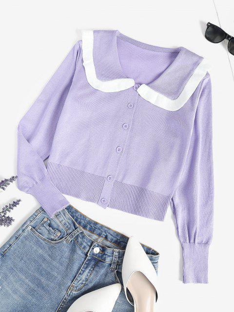 shop Contrast Knit Single Breasted Cardigan - LIGHT PURPLE ONE SIZE Mobile