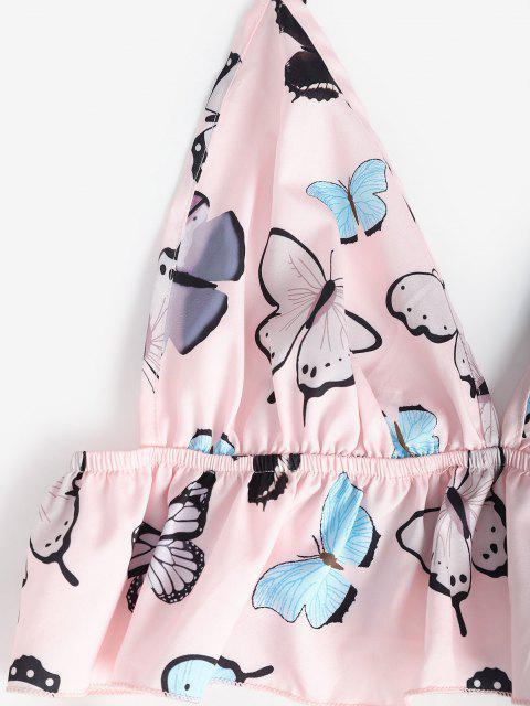 women Flounce Butterfly Cami Pajamas Set - LIGHT PINK M Mobile