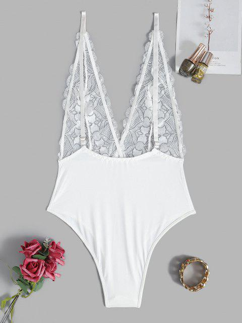 unique Plunge Lace Sheer Sexy Cami Teddy - WHITE M Mobile