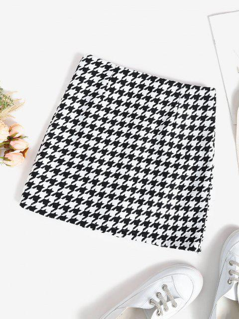 unique Houndstooth Zip Up Front Tweed Skirt - BLACK M Mobile