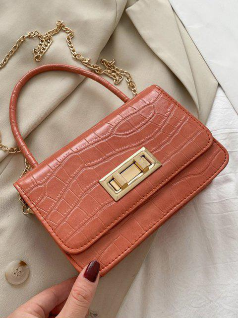 chic Embossed Rectangle Chain Handbag - ORANGE PINK  Mobile