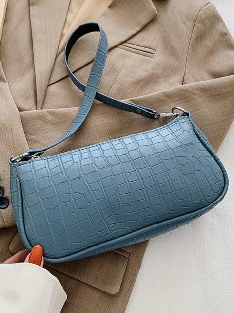 ladies Brief Textured Shoulder Bag - MARBLE BLUE  Mobile