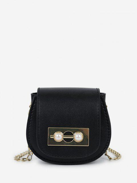 shop Faux Pearl Chain Saddle Bag - BLACK  Mobile