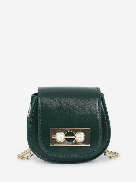 latest Faux Pearl Chain Saddle Bag - DARK FOREST GREEN  Mobile