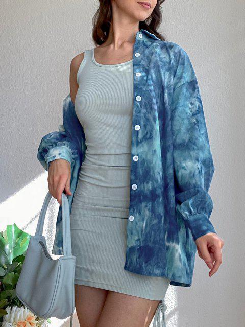 chic ZAFUL Tie Dye Corduroy Pocket Drop Shoulder Shirt - SILK BLUE M Mobile