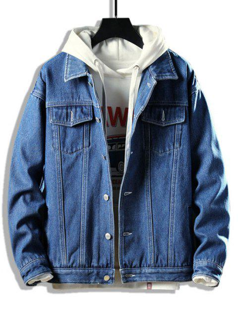Button Up Fleece Jean Jacket - الدينيم الأزرق الداكن S Mobile