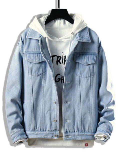 women Button Up Fleece Jean Jacket - LIGHT BLUE S Mobile