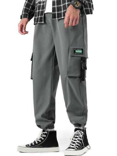 sale Buckle Strap Letter Applique Cargo Pants - CARBON GRAY XS Mobile