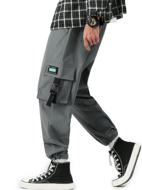 Schnallenriemen Buchstabe Applique Cargo Hose - Kohle Grau S Mobile