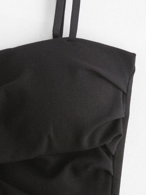 Haut Rembourré Superposé Plissé en Avant à Bretelle - Noir M Mobile